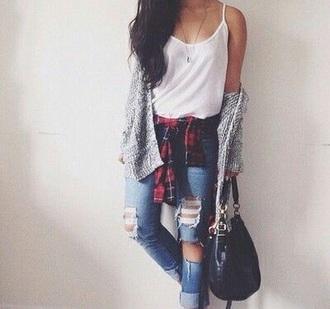 blouse cardigan jeans