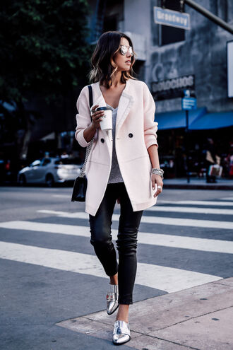 viva luxury blogger sunglasses pink coat metallic shoes silver shoes black pants cropped pants dior sunglasses