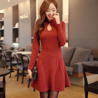 dress asian korean style korean fashion chinese dress burgundy xxxl burgundy dress asian dress asian fashion