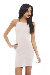 nude dress,nude bodycon,off-white dress,off white bodycon,bodycon dress,string straps,high neck dress,www.ustrendy.com