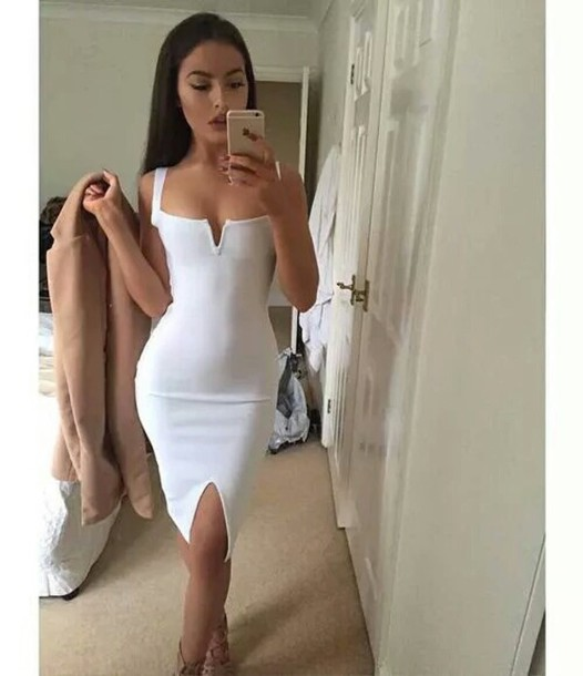 4f2b7c00381f dress white top sexy dress white dress bodycon party dress sexy party  dresses slit slit dress