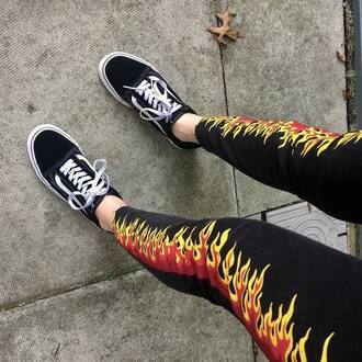leggings flames jeans pants fire tumblrg grunge so cool msp movie star planet yellow ref red orange vans old skool old skool vans