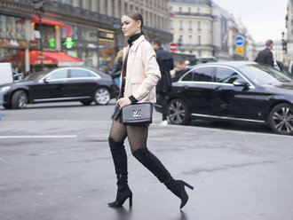 shoes boots kristina bazan kayture blogger streetstyle fashion week 2016 paris fashion week 2016 louis vuitton knee high boots suede boots beige jacket pocket jacket
