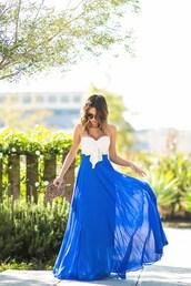 lace and locks,blogger,sunglasses,blue dress,white dress,strapless dress,bustier dress,animal print bag