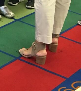 shoes tan nude suede suede heels low heel buckles tan heels nude heels chunky heels