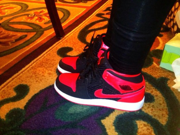 shorts black red air jordan nike high top sneakers shoes