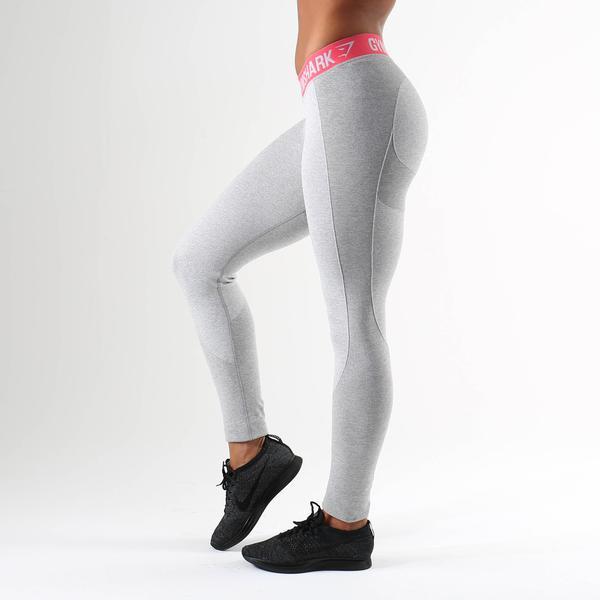 9437c6c5812001 Gymshark Flex Leggings - Light Grey Marl/Sherbet Pink