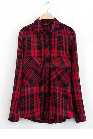 Classical Red Plaid Cotton Shirt [FDBI00417] - PersunMall.com