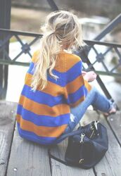 sweater,rayures,bleu,winter sweater,autumn/winter,pullover,weheartit,clothes