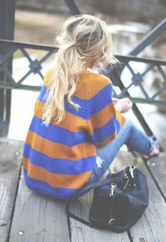 sweater rayures bleu winter sweater autumn/winter pullover weheartit clothes