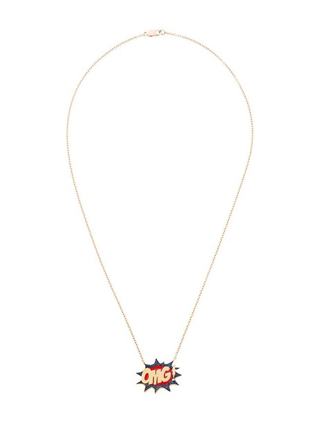 Monan women necklace pendant gold grey metallic jewels