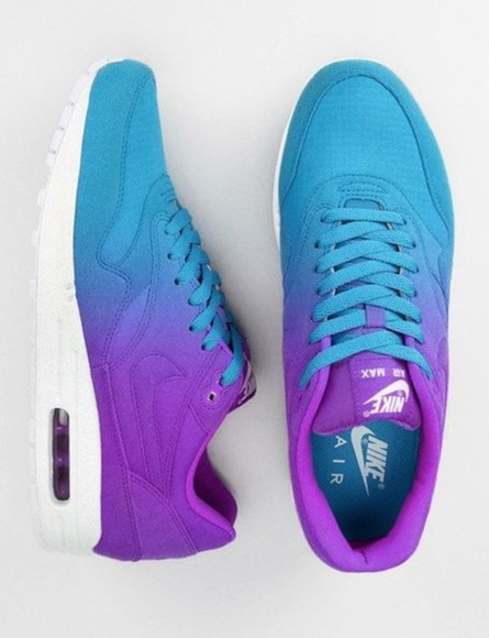 shoes nike air max ombre light blue purple shoes