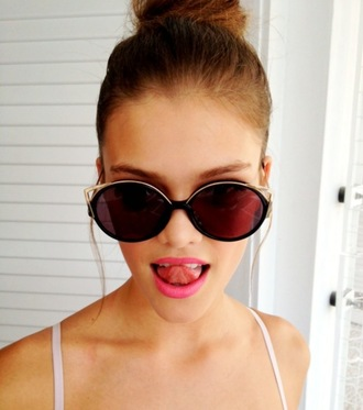 sunglasses black and gold round sunglasses cat eye