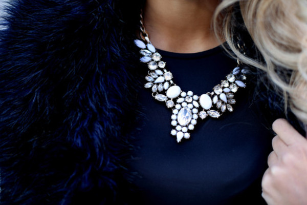 jewels necklace diamonds statement necklace clear chunky chunky necklace collar withe