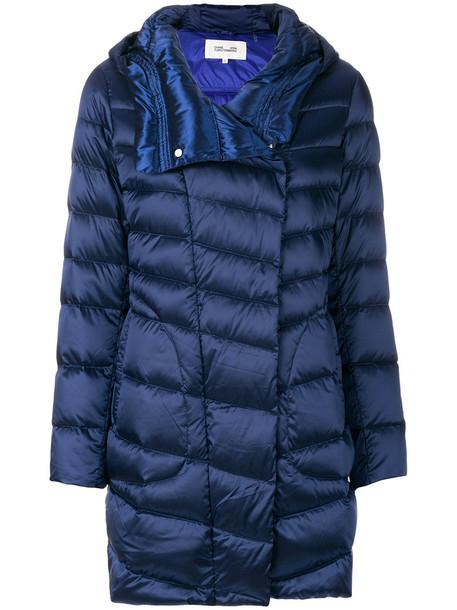 Dvf Diane Von Furstenberg - quilted coat - women - Polyester/Polyamide/Polyurethane/Feather Down - M, Blue, Polyester/Polyamide/Polyurethane/Feather Down