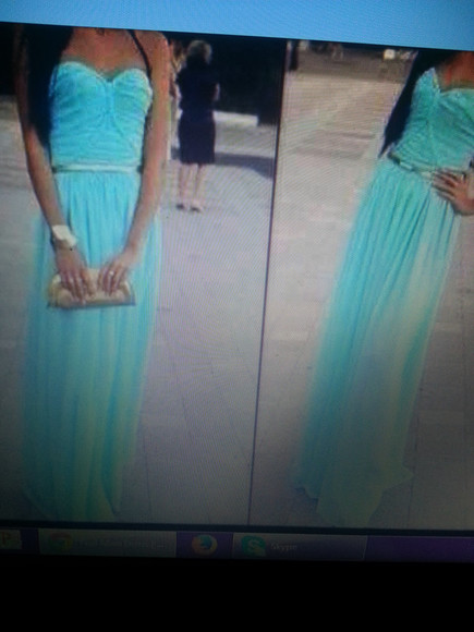 tiffany dress blue dress teal maxidress gold strapless dress