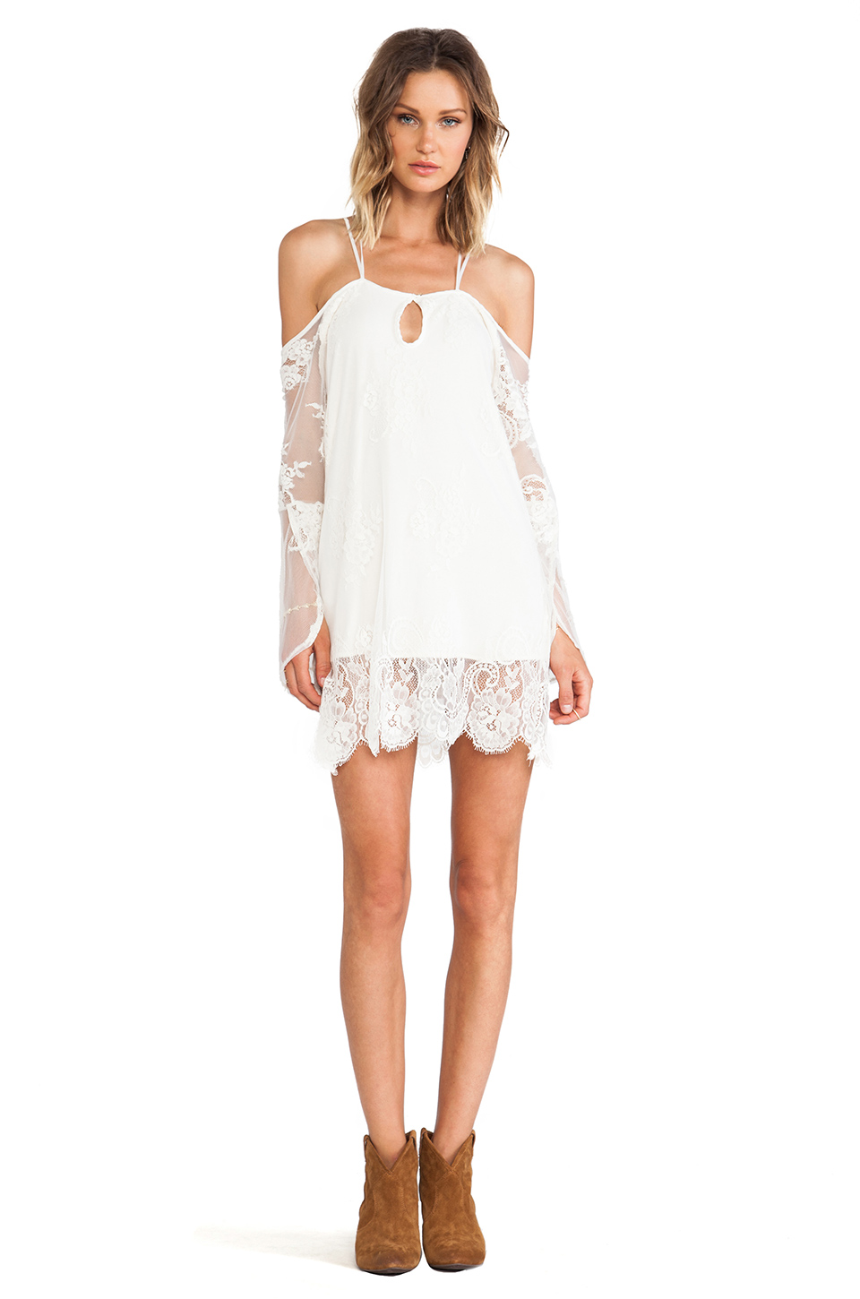 White Spaghetti Strap Off The Shoulder Lace Dress - Sheinside.com