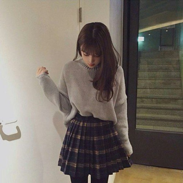 sweater turtleneck turtleneck sweater grey grey sweater oversized sweater oversized oversized turtleneck sweater korean fashion korean style korean street fashion korean street style asian asian fashion ulzzang kfashion pale grungey skirt