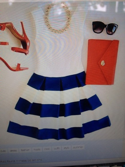 skirt top white dress cute dress cute dress skater skirt blue dress blue skirt stripes