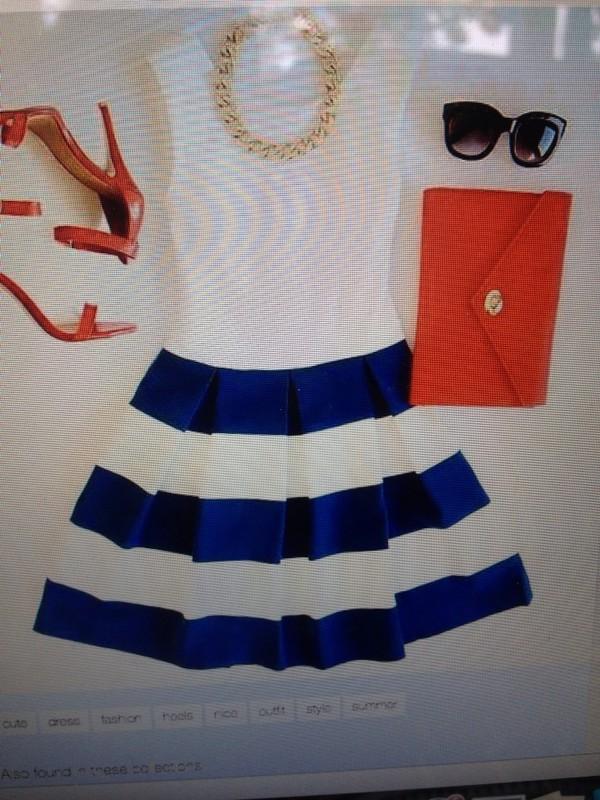 dress cute dress cute skater skirt blue dress white dress top skirt blue skirt stripes