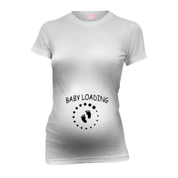 d8e8548704 Baby Loading Baby Feet New Mom Funny Maternity T-Shirt Tee Shirt Top Baby  Shower Gift