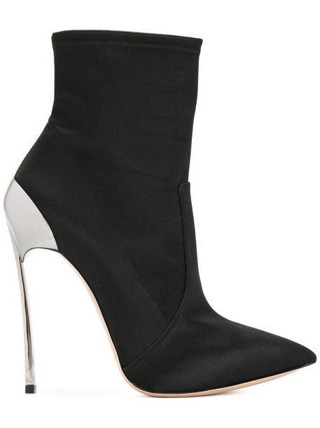 CASADEI women ankle boots leather black silk satin shoes