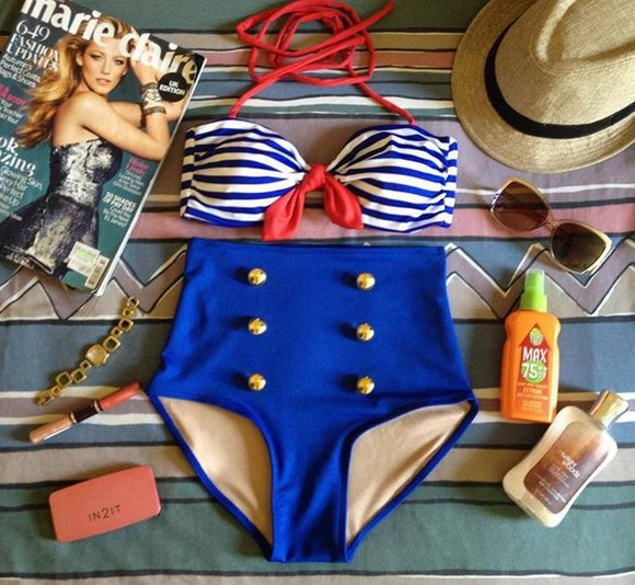swimwear bikini blue bikini bikinis vintage retro high waist highwaisted shorts sailor striped bikini floral swimwear