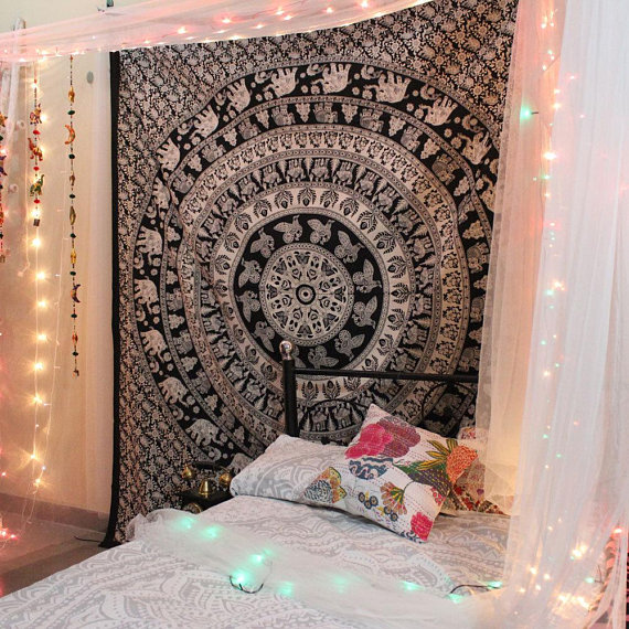 Tapestry Wall Hanging, Elephant Tapestry Mandala, Black and white Mandala Tapestries, hippie Tapestries Indian Tapestry Wall Hanging art