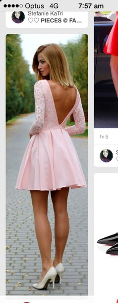 dress lace cute love light pink lace dress jacket lace dress with v cut out back pink lace baby pink open back pink skater dress open back pretty pink girl sweet classy prom prom dress short dress formal lace pink skater dress cute dress romantic dress pink dress backless dress