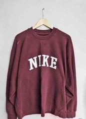 sweater,nike,red,burgundy,white,girly,girl,tumblr,cool,cotton,hoodie,sweatshirt,warm