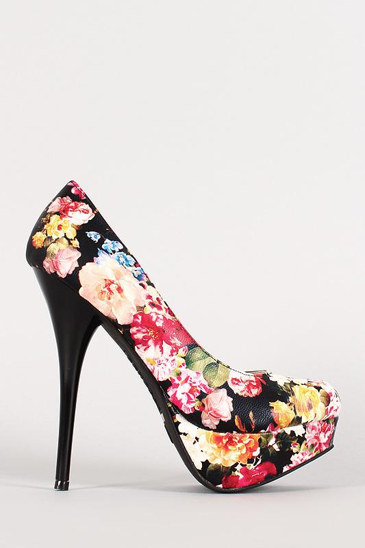 11x floral leatherette platform pump