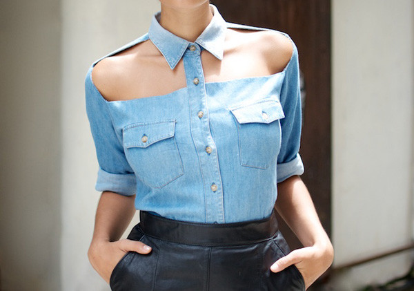 New Sexy Stylish Denim Blue Cut Out Shoulder Button Front