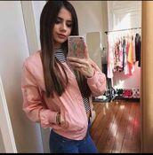 jacket,rose pink,dusty pink,bomber jacket