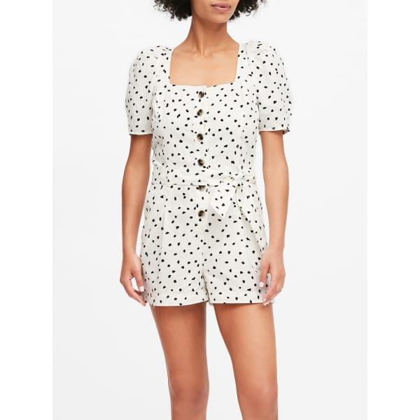 Banana Republic Women's Linen-Cotton Puff-Sleeve Romper White Dot Size 12
