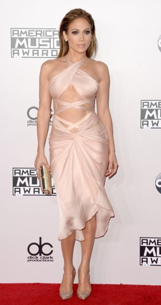 jennifer lopez silk nude dress