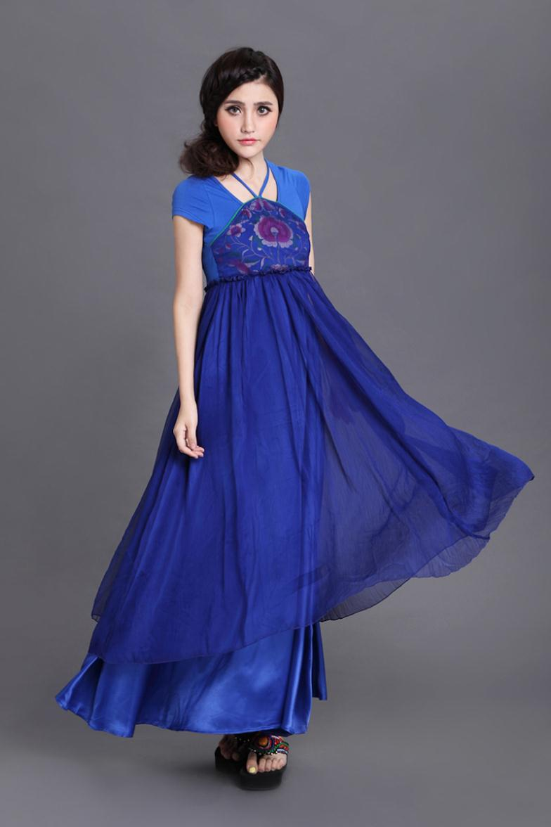 Aliexpress.com : buy photos 2013 new summer national wind high end high end sapphire blue embroidered apron chiffon dress r8059 from reliable dress suppliers on panda clothing co., ltd.