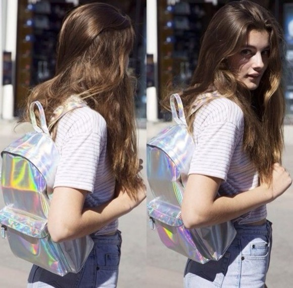 bag backpack holographic girl cool