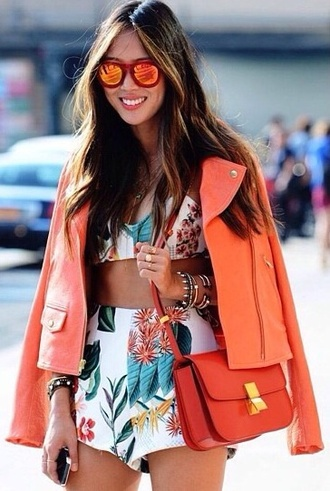 jacket coral orange summer outfits spring outfits girly outside blogger style flowers