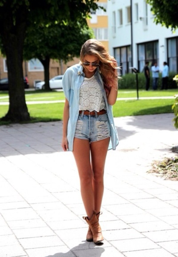 blouse t-shirt shorts