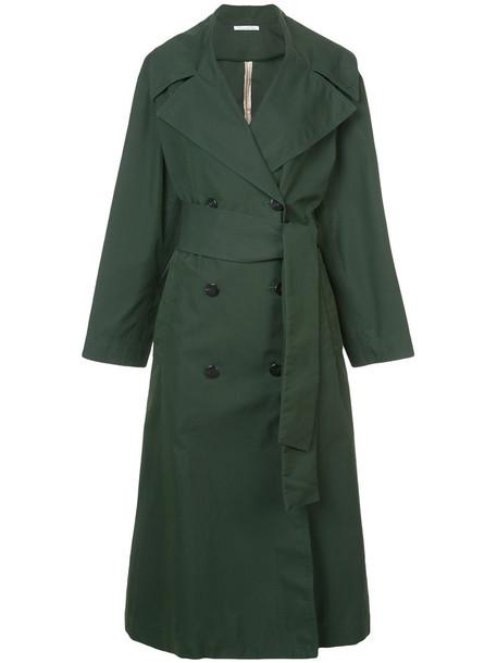 oscar de la renta coat trench coat women cotton green