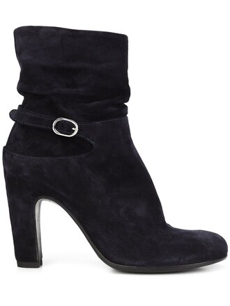 women boots leather blue suede shoes