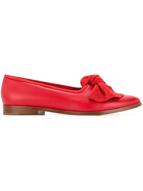 bow women slippers leather suede red shoes
