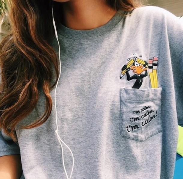 t-shirt shirt grey pocket tees warner brothers warner brothers productions daffy duck cartoon old cartoons pencils fashion pockets