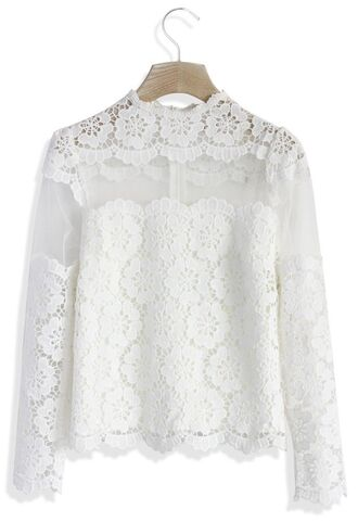 top www.ustrendy.com long sleeves lined top white lace top crochet lace top white crochet lace white mesh mesh and lace top