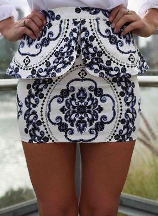 Multi Prints Skirt - White Peplum Mini Skirt with | UsTrendy