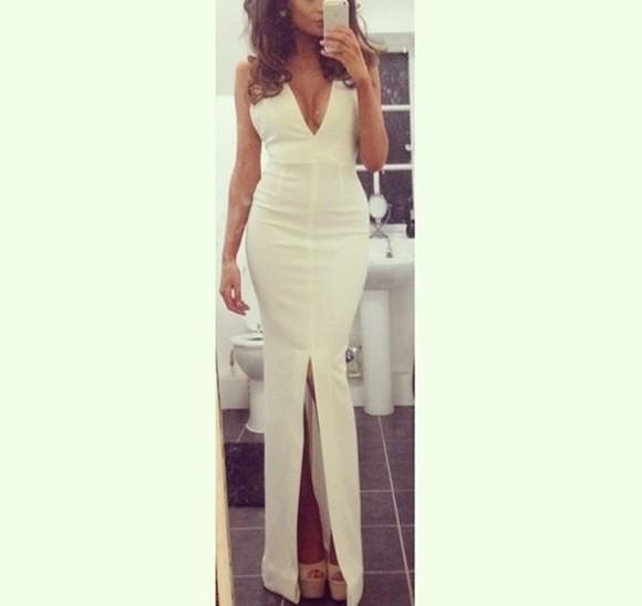 bodycon dress White strapless dress deep v cut dress prom dress slit dress