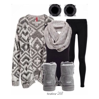 cardigan aztec white grey long
