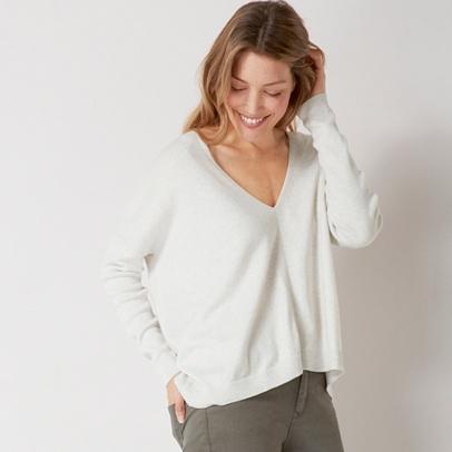 V Neck Rectangular Sweater   Clothing   Sale   The White Company US