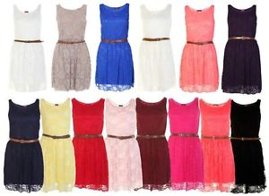 LADIES BELTED LACE SHIFT WOMENS SKATER SLEEVELESS DRESS TOP SIZE 8-14   eBay