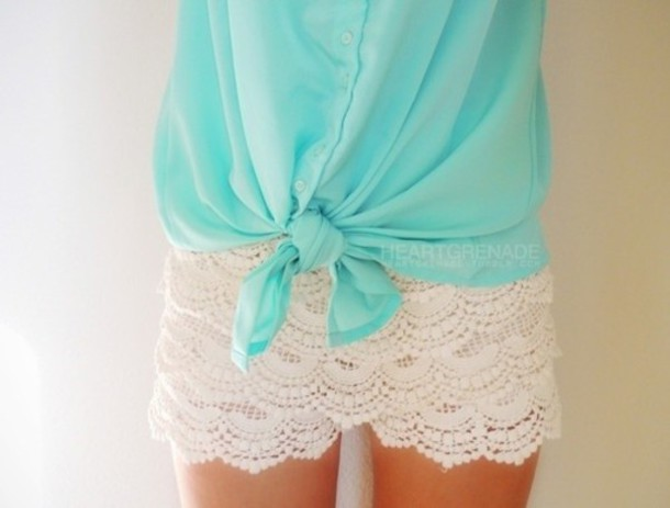 Shorts: clothes, blouse, blue blouse, white shorts, girl - Wheretoget